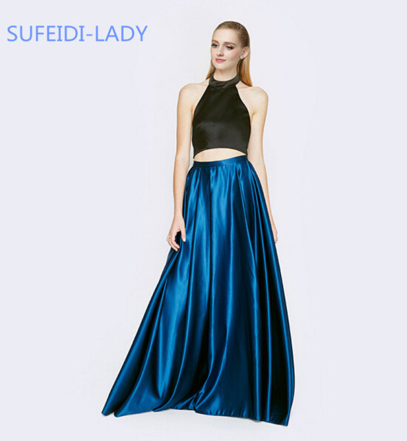 22708cdb335 New Arrival 2 Piece Outfits Crop Top And Skirt Black Royal Blue Prom Dress  Long Halter Satin Backless Prom Gowns 2015 Customize