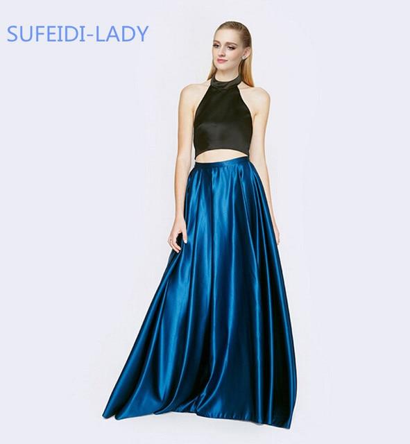 Nuovo Arrivo 2 Pezzo Outfits Crop Top E Gonna Nera Reale blu Vestito Da Promenade Lungo Halter Satin Backless Prom Gowns 2015 Personalizza