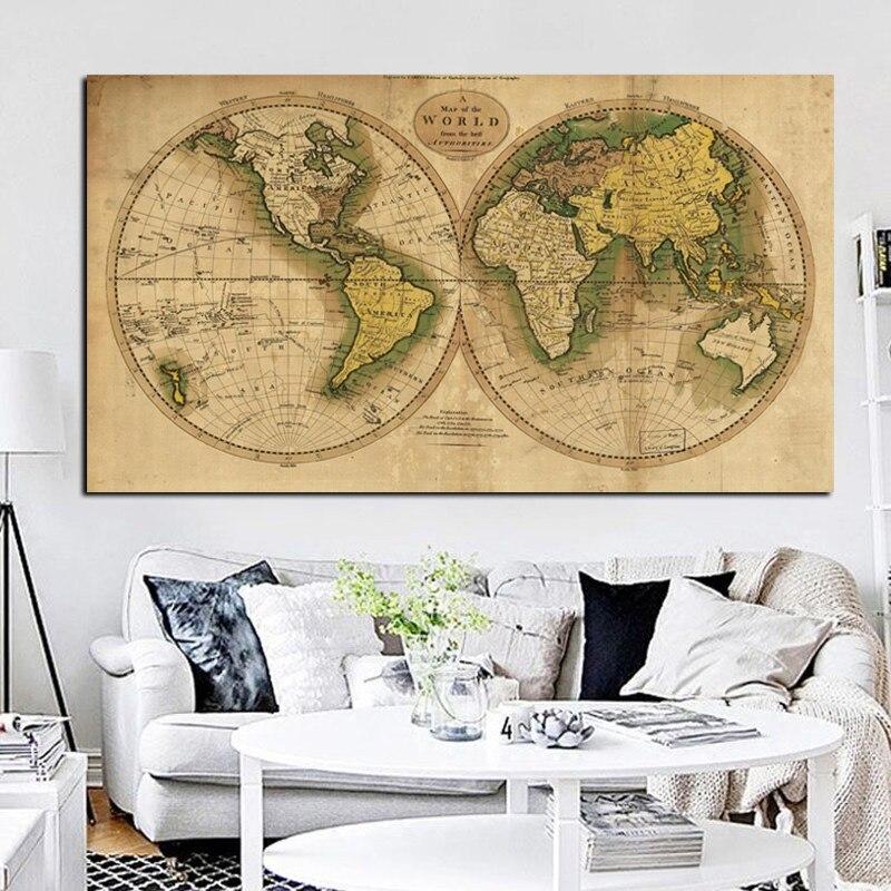 Vintage terre monde carte toile peinture affiche rétro Globe cartes imprimer sur toile pour bureau chambre mur Art photo Cuadros décor