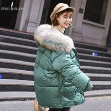 PinkyIsBlack Winter Jacket Women Big Fur Hooded Parka Long Coats Cotton Padded Ladies Coat Warm Thicken Jaqueta