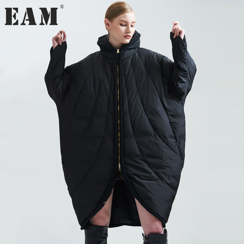 [EAM] 2017 new autumn winter stand collar long sleeve solid color black loose big size warm coat women jacket fashion JA99301