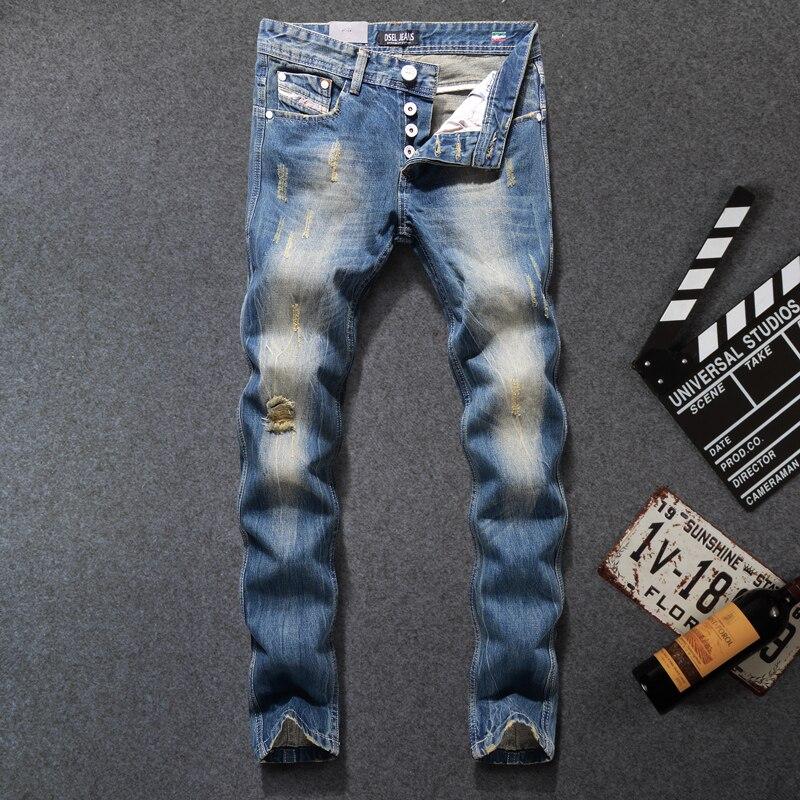 Italian Design Fashion Men Jeans DSEL Brand Blue Color Frayed Hole Destroyed Ripped Jeans Men Street Motor Biker Jeans Slim Fit