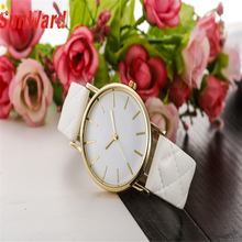 SUNWARD Stylish 2017 New Design 7 Colors Casual Checkers Faux Leather Quartz Analog Female Watch Relogio Feminino Best Selling