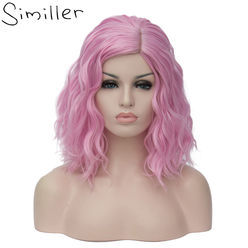 Similler 14 Women Short Kinky Straight Cosplay Synthetic Wigs With Air Bangs Pink golden blue 9