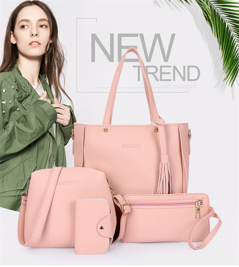 HTB1ZUtlaukJL1JjSZFmq6Aw0XXay - Women Bag Set Top-Handle Big Capacity Female Tassel Handbag Fashion Shoulder Bag Purse Ladies PU Leather Crossbody Bag
