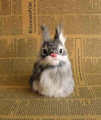 Модель кролика полиэтилена и меха мини 12x8 см серый кролик ручной работы, реквизит, игрушка для декорирования квартиры Рождественский подарок b3621