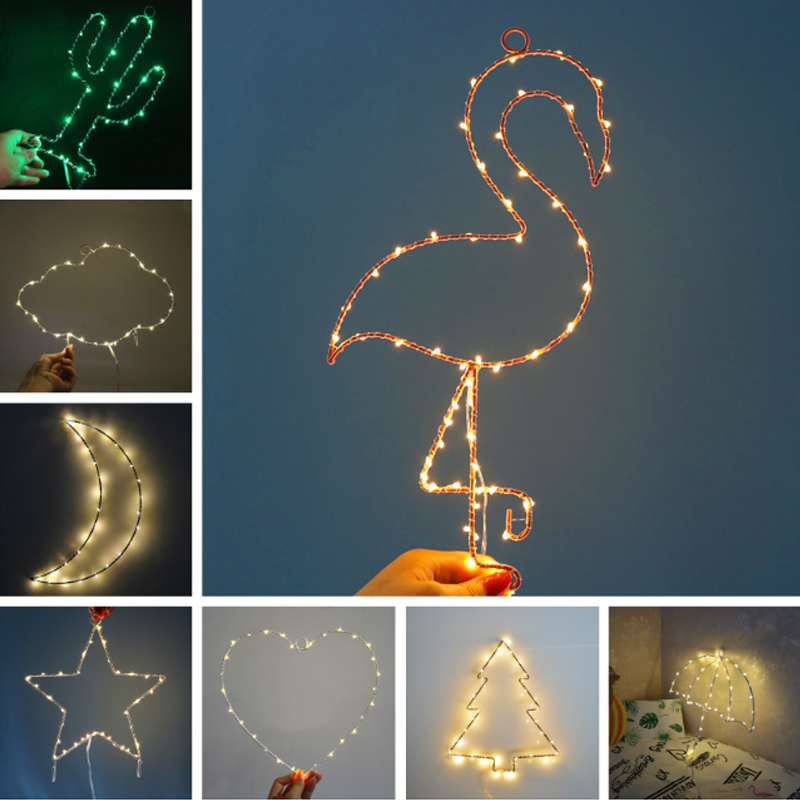 Amore new 2018 Wall Lamp LED Night Light House Decoration Moon Cloud Flamingo Cactus AA Battery Plastic Wire Girl Bedroom Gift