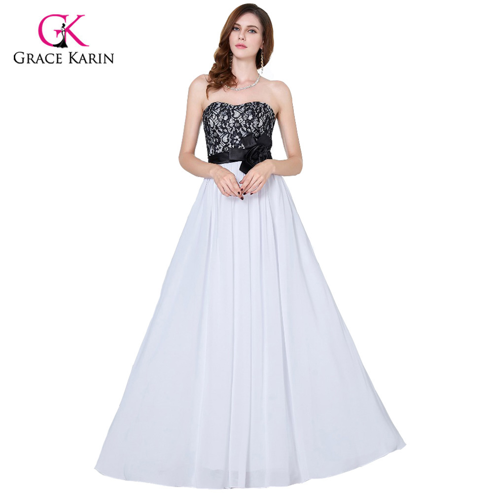 Grace karin evening dresses long black and white wedding for Elegant wedding party dresses