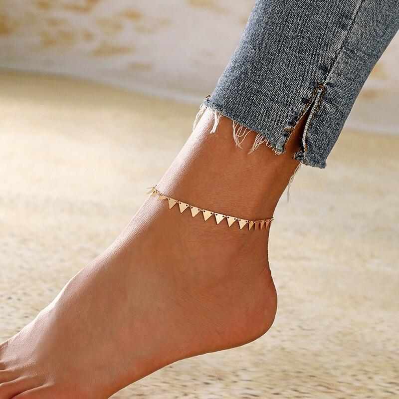 XIYANIKE Bohemian Trangle Geometric Leg Bracelet For Women Vintage Yoga Beach Anklet Summer Style Sandals Brides Shoes Barefoot