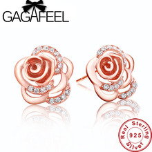 Marca nueva joyería fina pura plata esterlina 925 pendiente elegant rose rosa pendientes de oro del perno prisionero para las mujeres we002