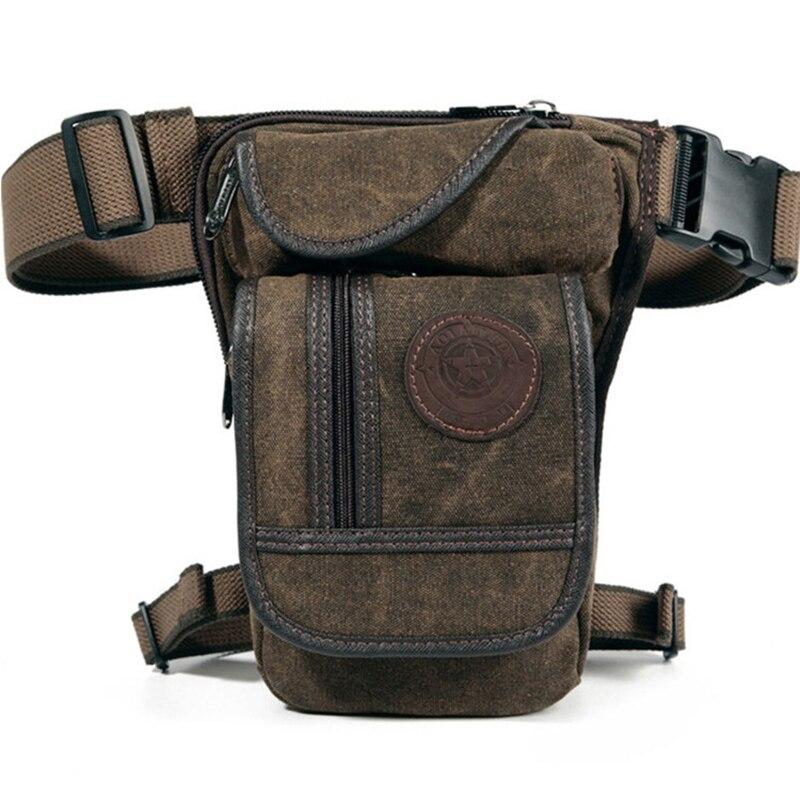 Hommes toile taille goutte jambe sac cuisse hanche ceinture Bum Fanny Pack militaire tactique voyage équitation moto Messenger sacs à bandoulière