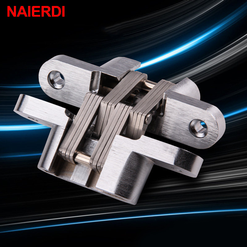 NAIERDI-4009 304 Stainless Steel Hidden Hinges 28x117MM Invisible Concealed Folding Door Hinge With Screw For Furniture Hardware hcg001 zinc alloy door concealed invisible hidden hinges folding door mount hinge cupboard door furniture hardware