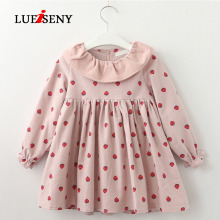 LUEISENY Spring Girls Dress Children Full Sleeve Clothes For 2-7Y Baby Cute Strawberry Dresses children clothes long sleeve strawberry patten 100