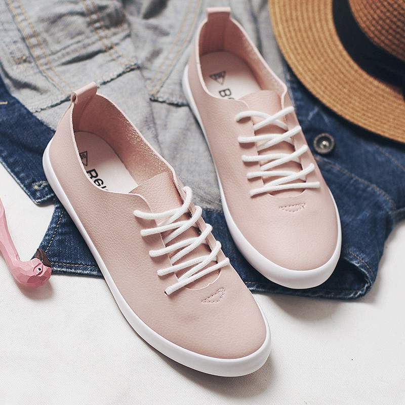 2018 New Women Sneakers Female White Shoes Lace Up Flat Heel All Match High quality Lady Flats Autumn Leather Shoes 7h10 rizabina concise women sneakers lady white shoes female butterfly cross strap flats shoes embroidery women footwear size 36 40