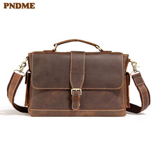 PNDME high quality crazy horse leather men's briefcase retro simple office genuine leather 14 inch laptop bag work messenger bag anaph unisex leather satchel briefcase crazy horse messenger bag casual crossbody bag attache 13 inch laptop case coffee