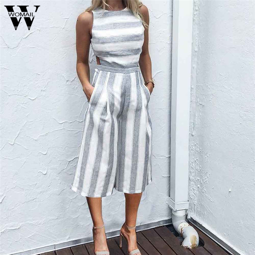 WOMAIL 2018 New summer Sexy Fashion Women Patchwork Office Lady Casual Jumpsuit Sleeveless Wide Leg Rompers OveralL Gifts