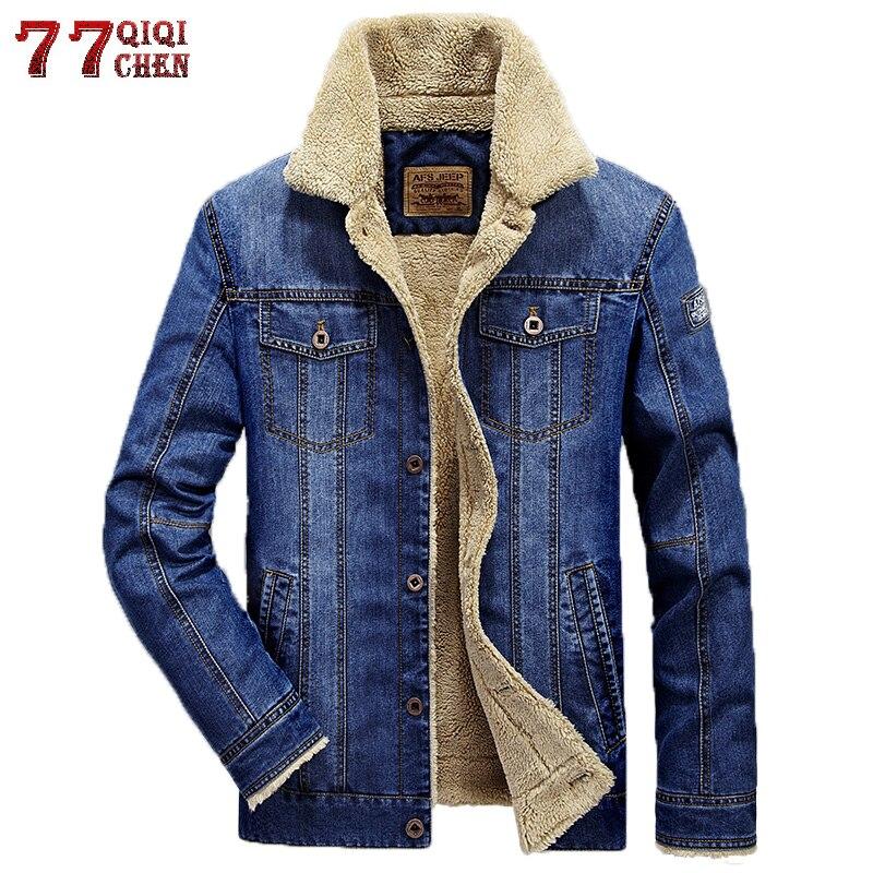 Jeans de marca Jaquetas Homens Inverno Quente Bombardeiro Jaqueta Jeans Homens Plus Size 4XL Grosso Quente Cowboy Blusão Jaqueta masculina Masculino