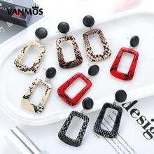 Vanmos Fashion Snake Skin Pattern Leather Drop Earrings Bohemian Large Geometric Statement Jewelry Gift for Women