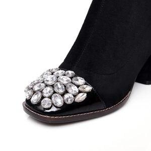 Image 4 - Morazora 2020 Nieuwe Faux Suède Dij Hoge Laarzen Voor Vrouwen Herfst Stretch Over De Knie Laarzen Zwarte Mode Lange Botas vrouw