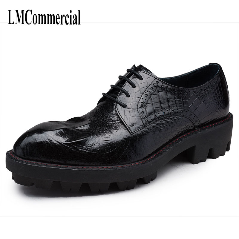 European version men's shoes hair stylist tide cowhide spring and autumn Genuine Leather Shoes Men,Lace-Up Business Men Shoes england carved men s business dress shoes leather men s shoes european version breathable black and white fight color shoes