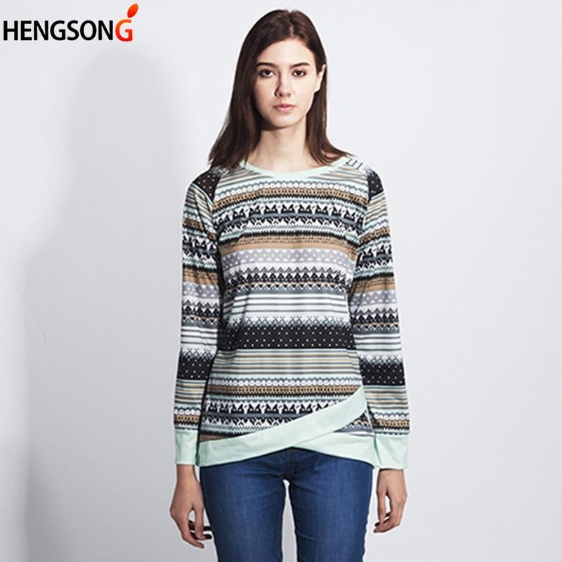 Vintage Stripes T Shirt Women 2019 New Fashion Autumn Spring Print Shirts Long Sleeve O-Neck T-Shirt Women Tops Tees