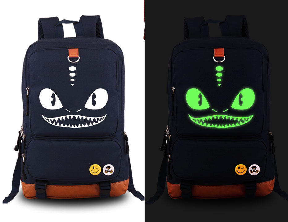 New How to Train Your Dragon NightFury Luminous Cosplay Backpack Cartoon Anime Canvas Student Schoolbag Unisex Travel Bags japan anime tokyo ghoul cosplay shoulders bag backpack cartoon schoolbag mochila unisex casual travel bags