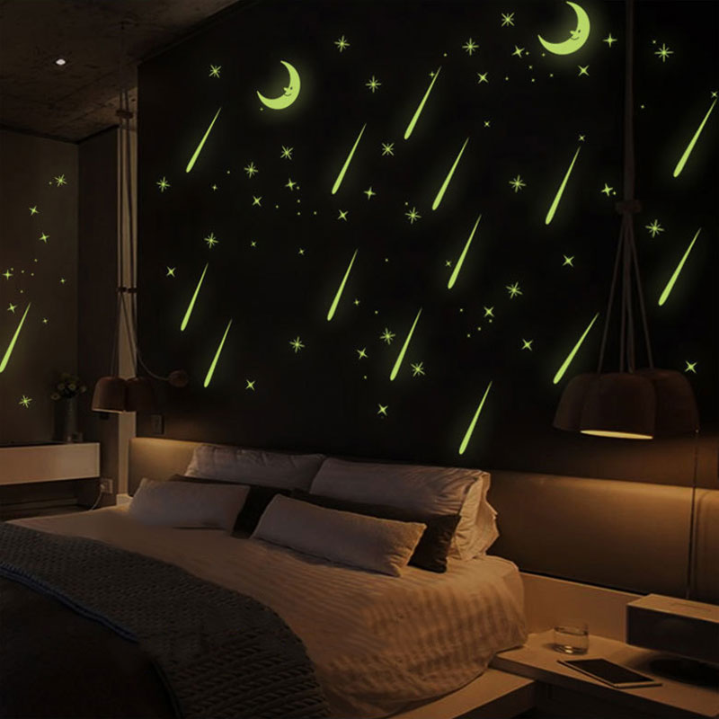 Meteor Shower Wall Stickers Sky Star Moon Wall Decals Luminous Stickers Fluorescence Kids Room Bedroom Nursery LS
