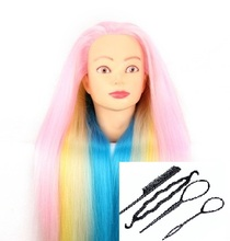 CAMMITEVER Female Rainbow Hair Mannequin Head Colorful Braiding Styling Hairdressing Training Salon with Clamp