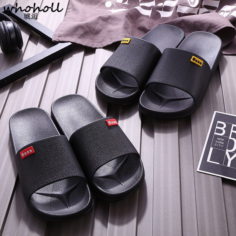 Whoholl Brand Men Slippers Casual Black and White Shoes Non slip Slides Bathroom Summer Sandals Soft Sole Flip Flops Man 35 44 in Slippers from Shoes