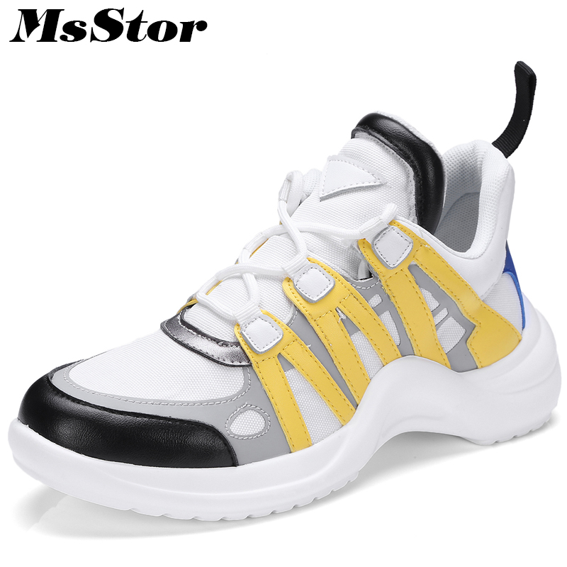 MsStor Mesh Breathable Women Shoes Fashion Mixed Colors Casual Women Flats Sneakers Spring Lace-Up Round Toe Women Flat Shoes huanqiu women mesh shoes casual lace up summer ladies flats white shoes breathable candy colors woman shoes 6e04