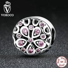 VOROCO Al Por Mayor 100% de Plata de ley 925 Rosa Cristales Flor Encantos fit Pandora Mujer Pulseras de Perlas y Joyería Ingredientes C053