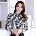 New Fashion Lady Striped Chiffon Shirts Plus Size S-3XL Bow Tie Decor 2015 Women Casual Career Blouse