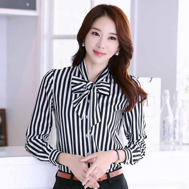 online shop new fashion lady striped chiffon shirts plus size s
