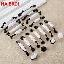 NAIERDI черно-белые керамические ручки для шкафов из цинкового сплава, европейские ручки для выдвижных ящиков, дверная ручка для шкафа, Мебельная ручка