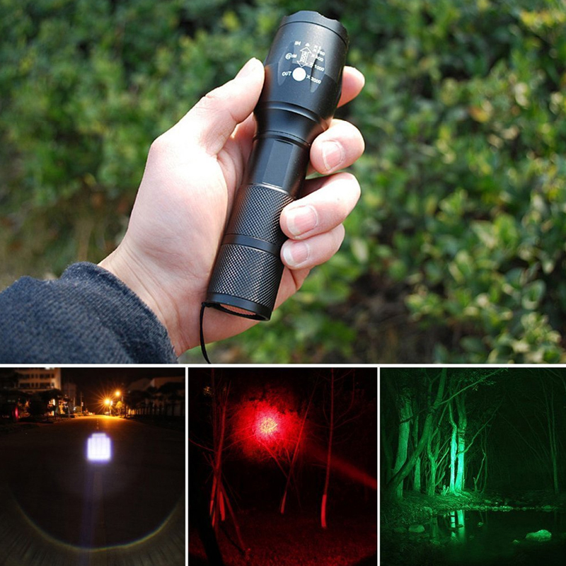 Tri-Color Flashlight 5 Mode Green/Red/White Powerful LEDs-1000 lumens Zoomable Tactical Torch Button magnets for Hinking CampingTri-Color Flashlight 5 Mode Green/Red/White Powerful LEDs-1000 lumens Zoomable Tactical Torch Button magnets for Hinking Camping