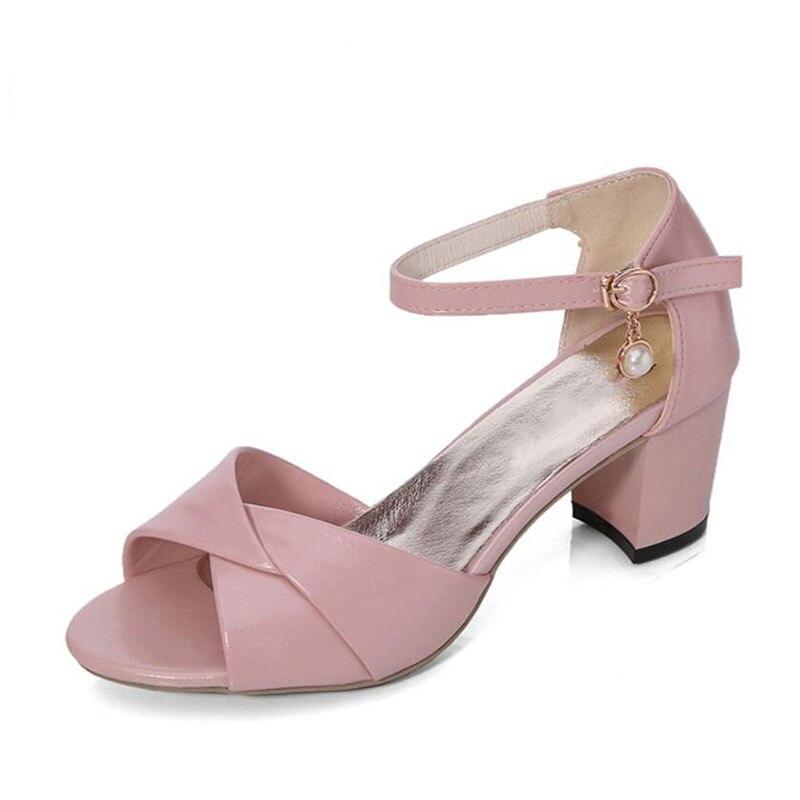 Alto Azul Está Envuelto Zapatos blanco Con Romano Hebilla Nueva rosado Ocio 2017 Tacón Boca Bowknot Sandalias Grueso Palabra De Pescado Verano Ux8OwwqpB