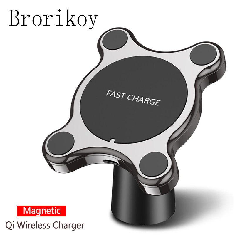 Magnetic Car Wireless Charger For IPhone 8 X Xs Max Adapter 10W Wireless Fast Charging
