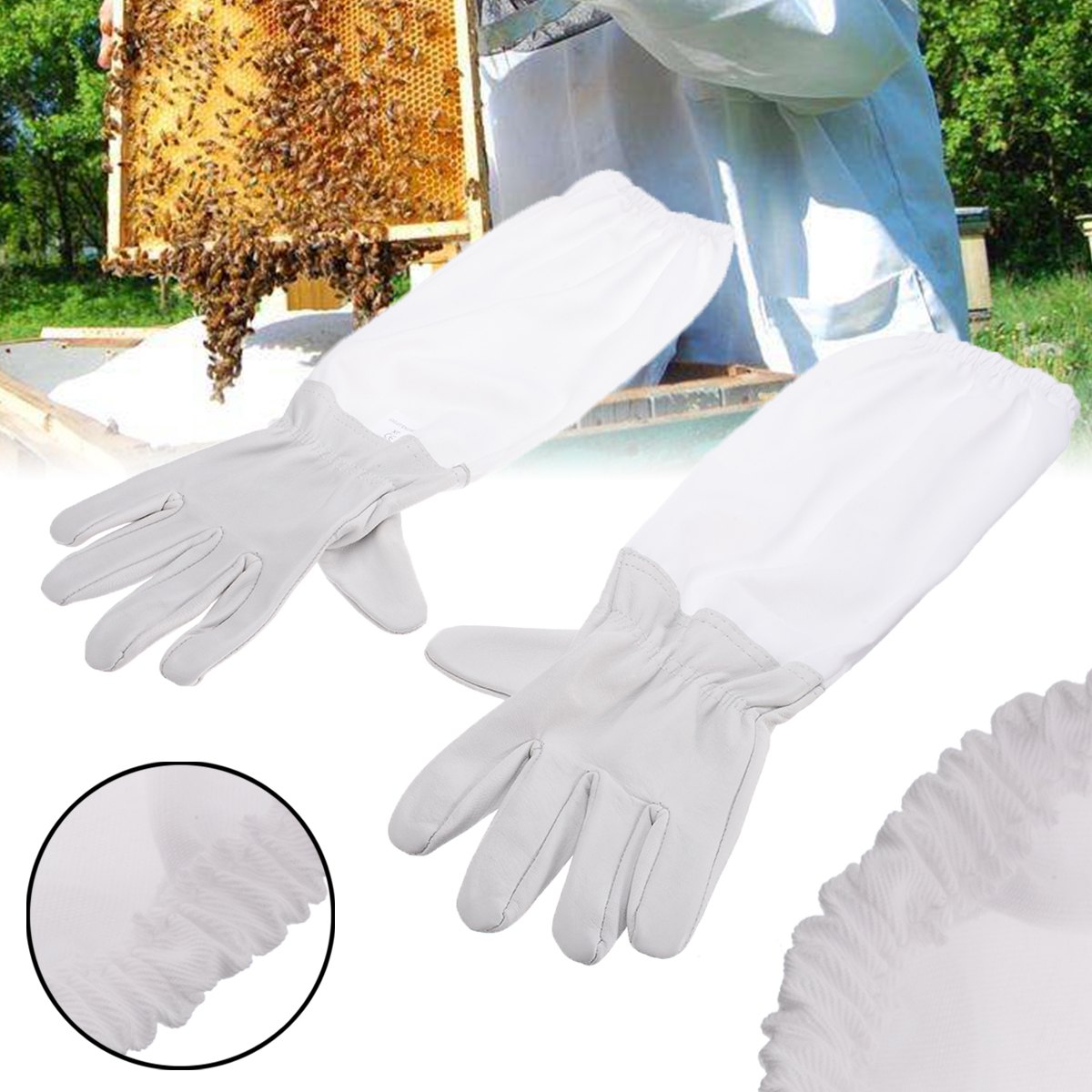 New Large 1 Pair of Beekeeping Protective Gloves with Vented Long Sleeves US