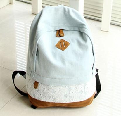 78e72dceaf Denim Backpack Lace Hot High quality Cute Washed Mochila Denim Latest Fresh  Brand College School Bag Denim Backpack Lace