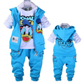 Baby Donald Duck Baby clothing boys and girl Set sport Suit 3Pcs vest+T-Shirt+Pants baby Summer Sets baby clothing