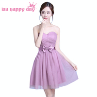 robe de mariee blush tulle strapless girls cute short bridesmaid dress pretty dresses for party debut ball gown H3898