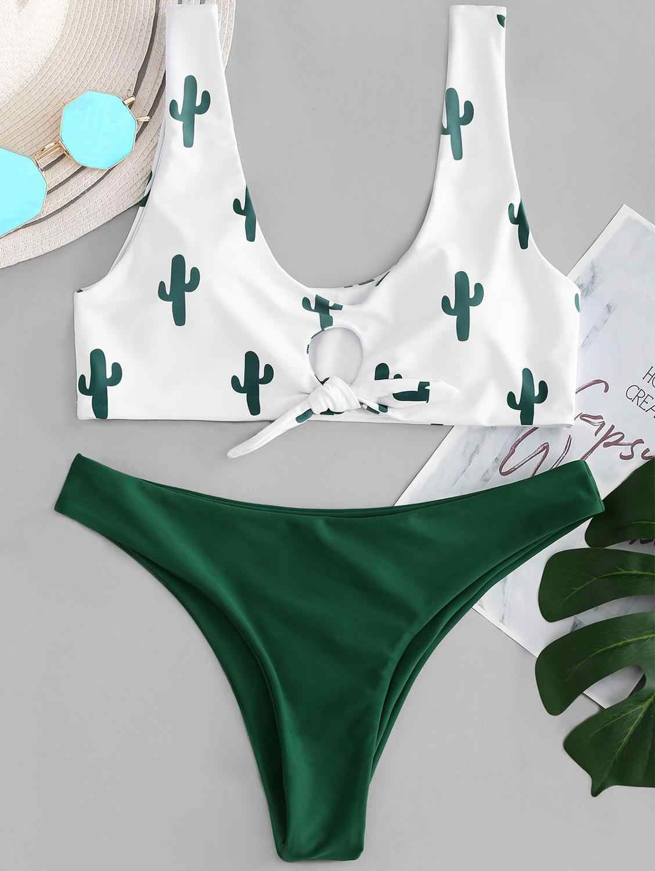 Maillots de bain femmes maillot de bain Cactus noeud cravate Bikini ensemble Push Up Sexy maillot de bain femmes string Bikini Monoki été femme maillot de bain