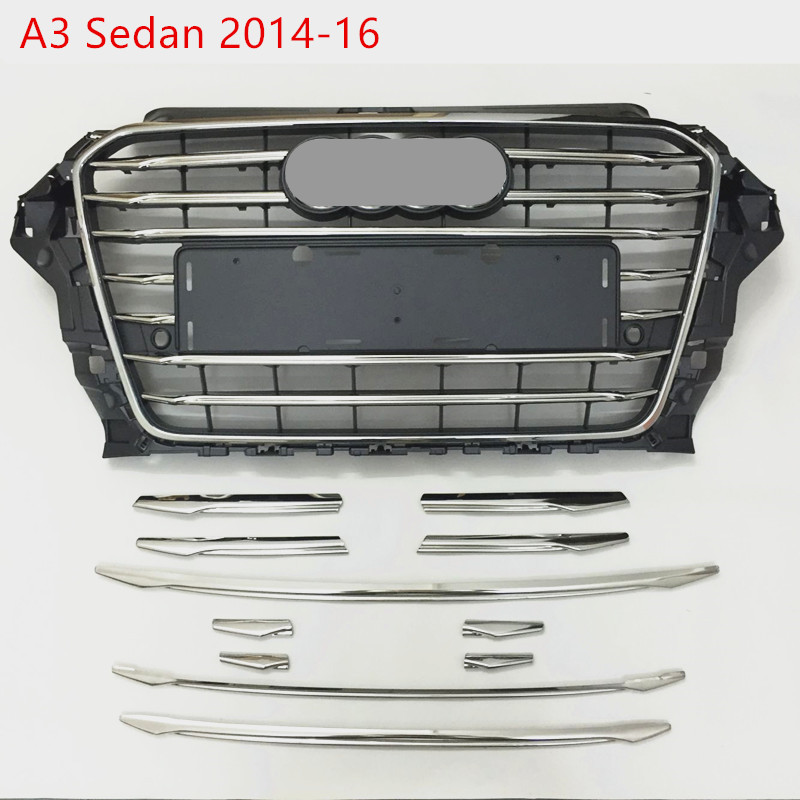 CNORICARC Stainless Steel Front Bumper Air Grille Grill Decor Cover Trim For <font><b>Audi</b></font> <font><b>A3</b></font> <font><b>8V</b></font> <font><b>Sedan</b></font> 2014-16 Car Front Fog Lamp Strips image