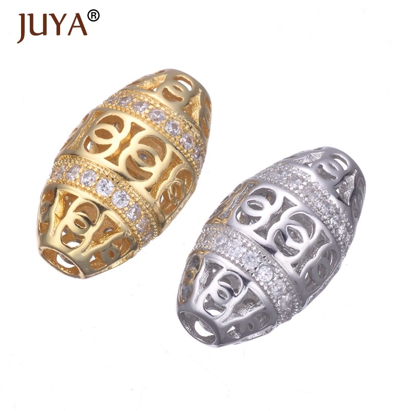 Supplies For Jewelry Hollow Oval Bead Copper CZ Beads Fit Original Bracelet Necklace Jewellery Making DIY Accessories Findings in Beads from Jewelry Accessories