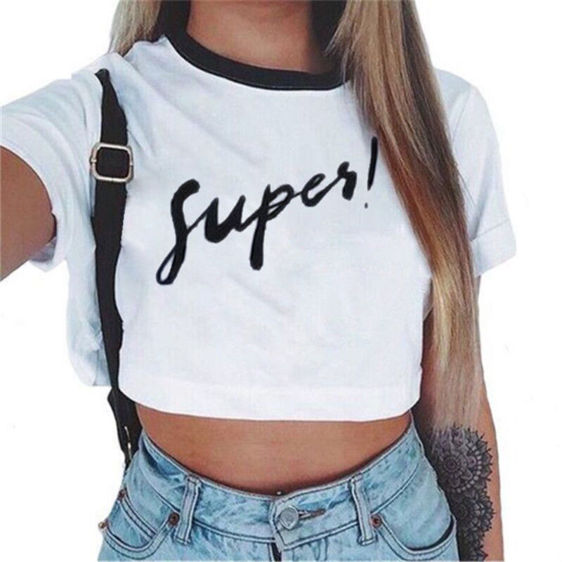 4cc06d5d2c6f Crop Top O-neck Women Print Coat Short Sleeve 2019 Fashion Sexy Short Sleeve  Letter