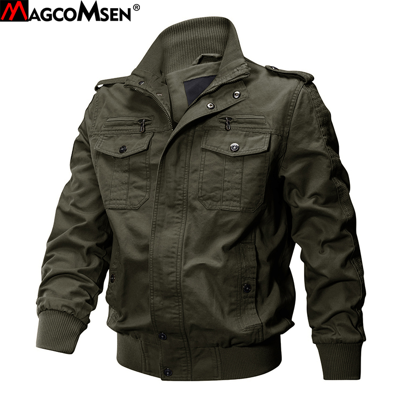 MAGCOMSEN Jackets Men Army Cargo Jackets Military Tactical Combat Jacket Coat Solid Bomber Jackets Pilot Coat Autumn AG SSFC 34-in Jackets from Men's Clothing    1