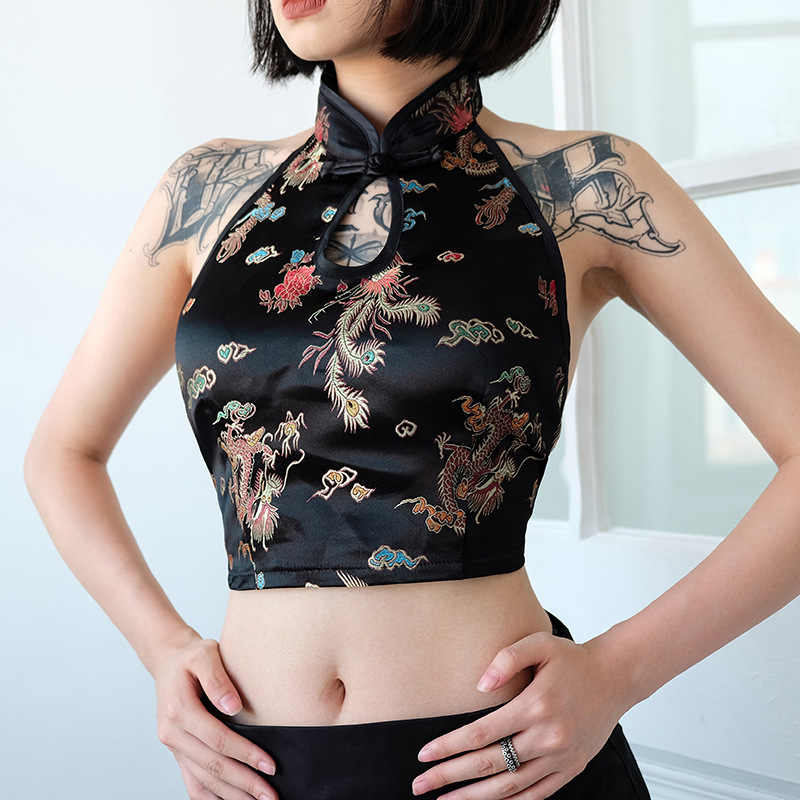 225b35f218 Hot Sexy Camisole Chinese Style Dragon   Phoenix Embroidery Crop Tops  Women s Shirt Top China Vintage