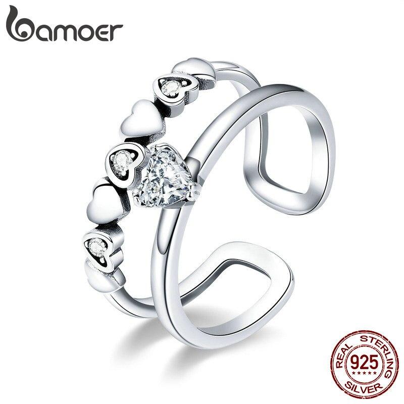 BAMOER 925 Sterling Silver Elegant Heart to Heart Clear Cubic Zircon Open Size Rings