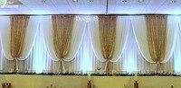 10ft x 20ft Luxury White with shiny Gold Wedding Backdrop Wedding Decoration