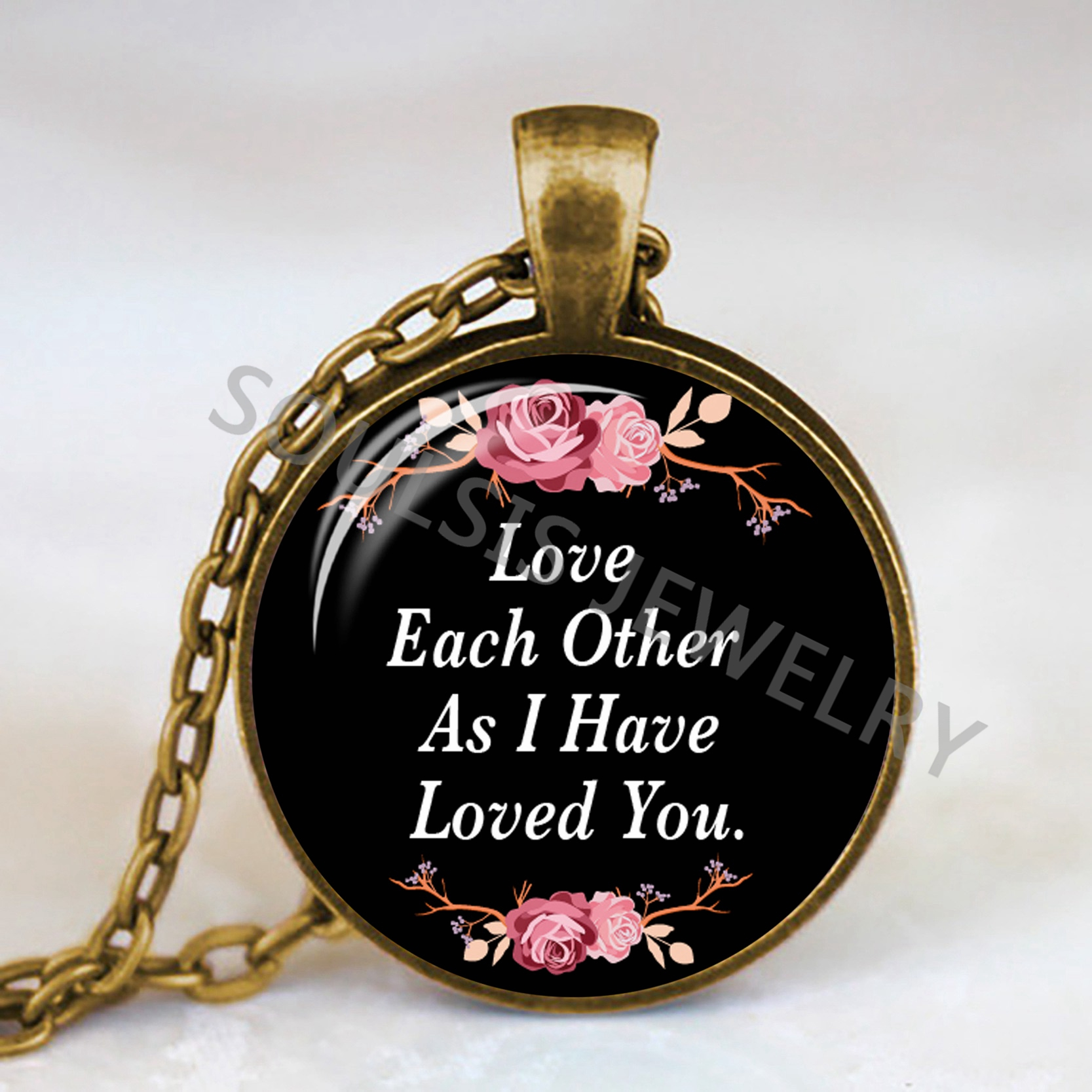Love Each Other As I Have Loved You: New Fashion Bible Verse Necklace Love Each Other As I Have